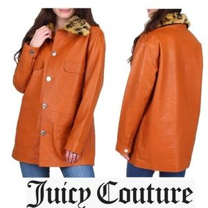 NWT JUICY COUTURE Leather Leopard Fur Coat Jacket